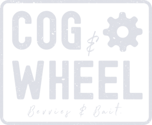 Cog and Wheel logo - white