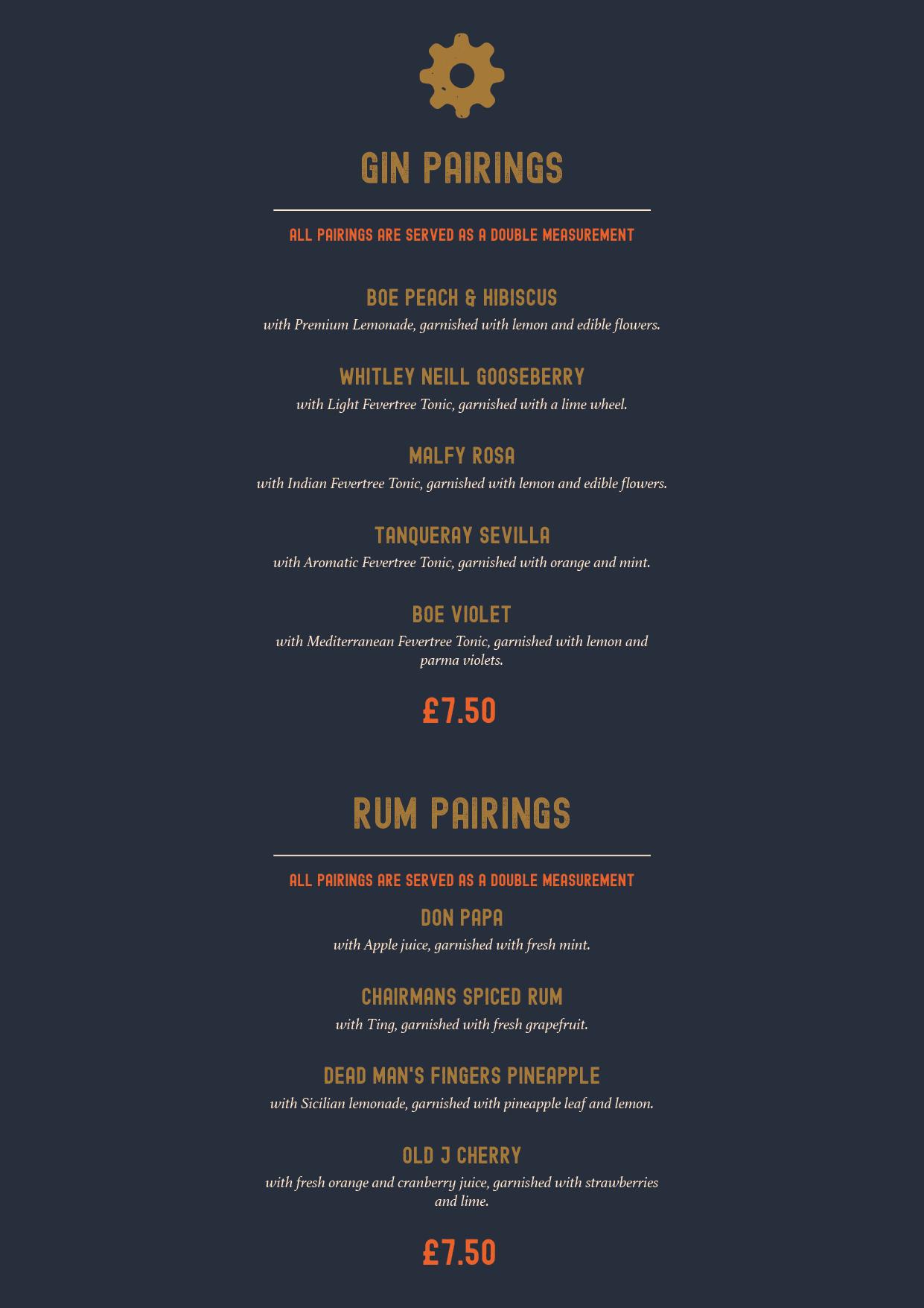 Pairings menu